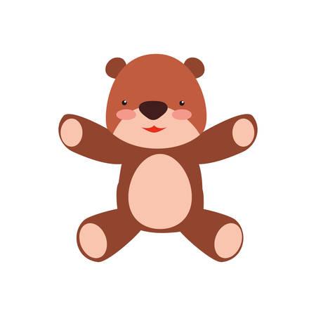 Teddy bear cartoon infantile vector icon illustration.