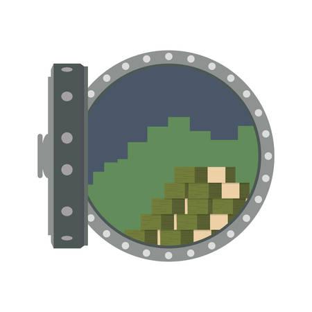 Vault safe cash bank vector icon illustration.