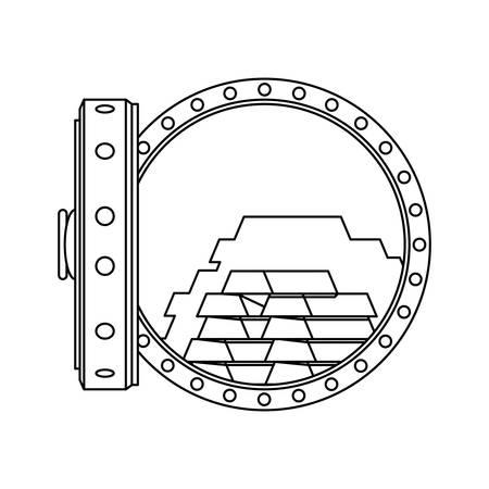 Vault safe deposit bank gold vector icon illustration.