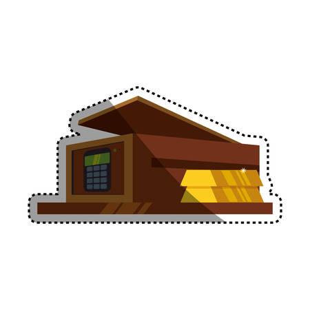 Safe deposit strongbox keypad vector icon illustration.