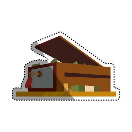 safe deposit strongbox key vector icon illustration
