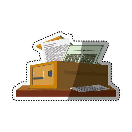 Safe deposit strongbox fingerprint vector icon illustration.