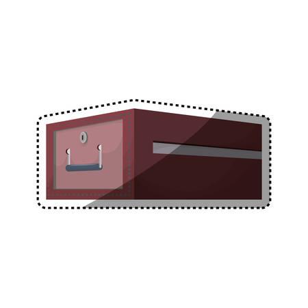 trustworthy: Safe deposit strongbox lock vector icon illustration.