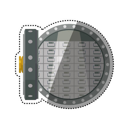 trustworthy: Vault safe deposit bank vector icon illustration.