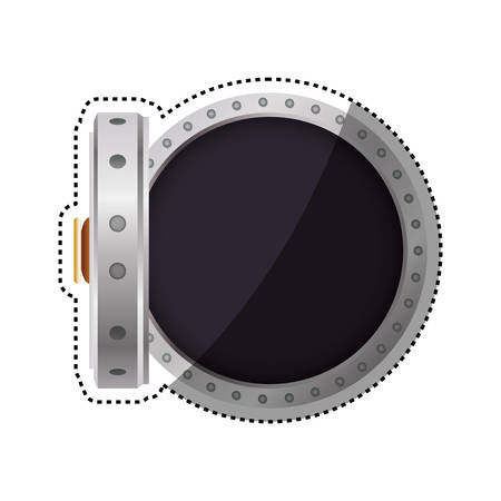 Vault safe deposit bank empty vector icon illustration.