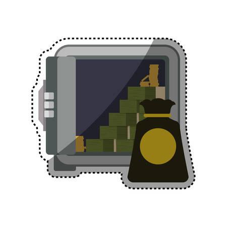 strongbox: Strongbox safe money bundles vector icon illustration.