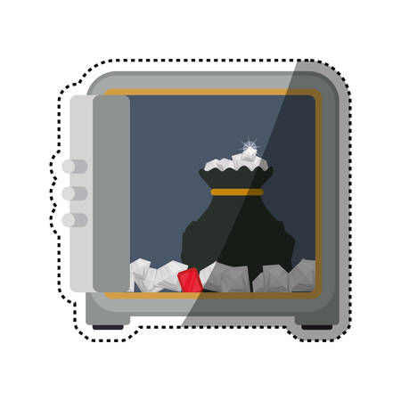 trustworthy: strongbox safe deposit diamonds vector icon illustration