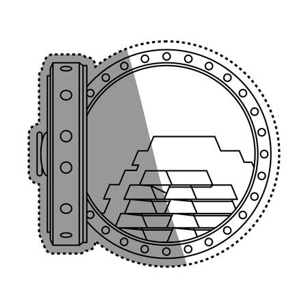 vault safe deposit bank gold vector icon illustration Illustration