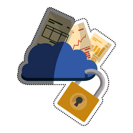 cloud padlock security documents vector icon illustration