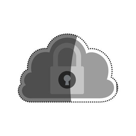 saved: Cloud padlock security vector icon illustration graphic design