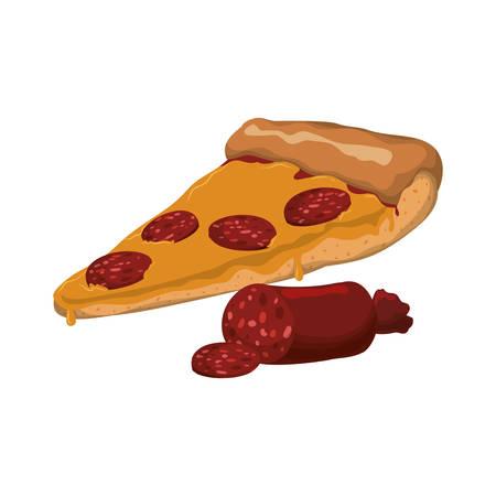 Pizza pepperoni salami slice vector icon illustration Illustration