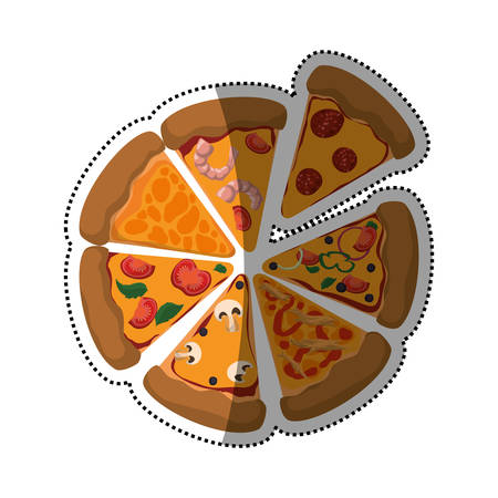 Pizza slices different ingredients vector icon illustration
