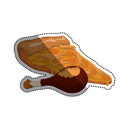Pizza chicken shredded slice vector icon illustration