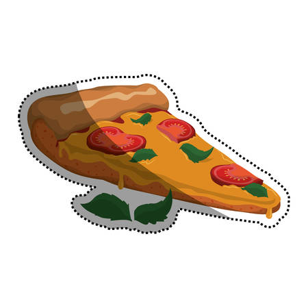 Pizza slice cherry tomato vector icon illustration Illustration