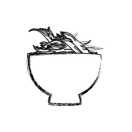shredding: Shredded chicken bowl vector icon illustration uncolored