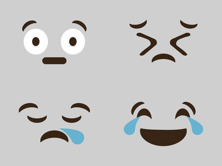 expressions cartoon faces over gray background. colorful design. vector illustration