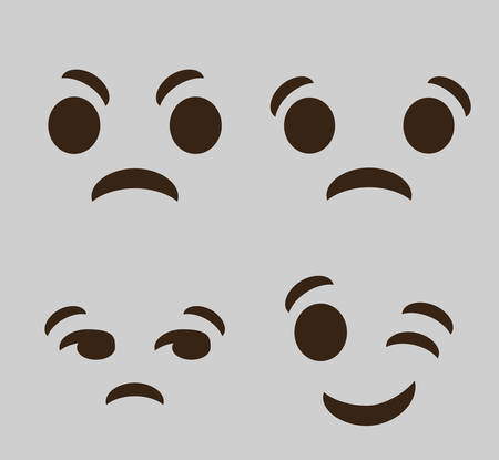 hilarious: expressions cartoon faces over gray background. colorful design. vector illustration