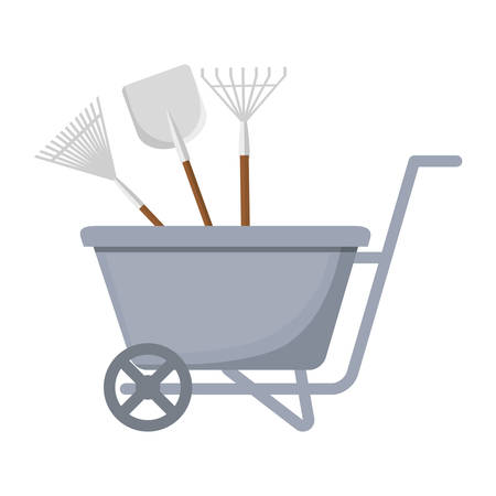 wheelbarrow with gardening equipment icon over white background. colorful design. vector illustration