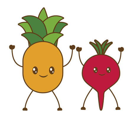 market gardening: pineapple and beetroot cartoon icon over white background. colorful design. vector illustration