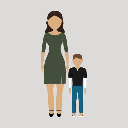 desing: mother and her son icon over gray background. colorful desing. vector illustration