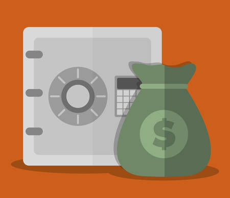 financial item: safebox and money sack icon over orange background. colorful design. vector illustration