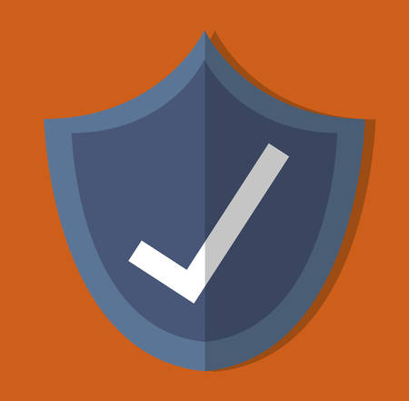 right choice: shield with check mark icon over orange background. colorful design. vector illustration