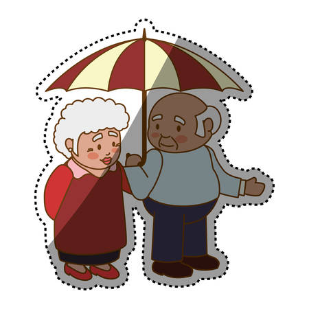 Grandfather and grandmother lovely couple cartoon icon vector illustration graphic design Illustration