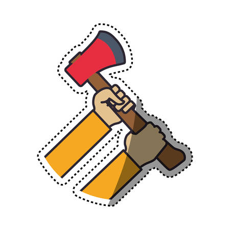 hands holding axe fire tool vector icon illustration