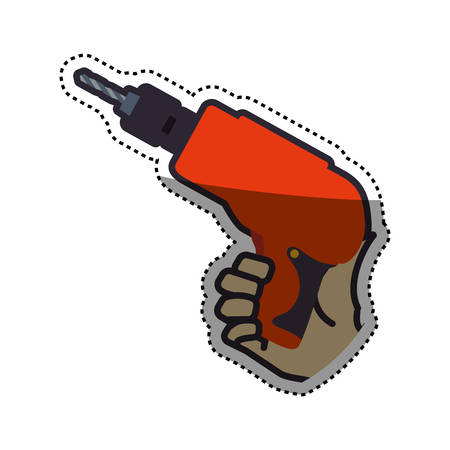 hand electric drill carpentry tool vector icon illustration