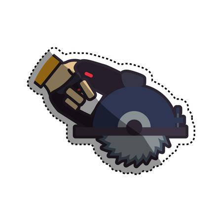 saw blade: hand circular saw carpentry tool vector icon illustration