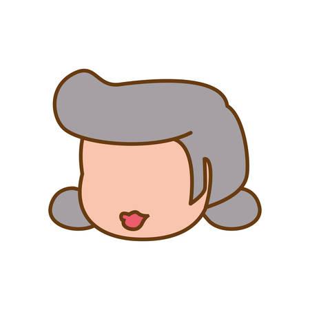 faceless grandmother elder head vector icon illustration graphic design Illustration
