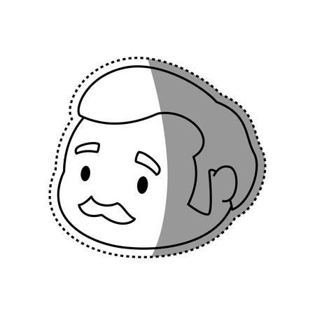 adult male avatar elder head vector icon illustration
