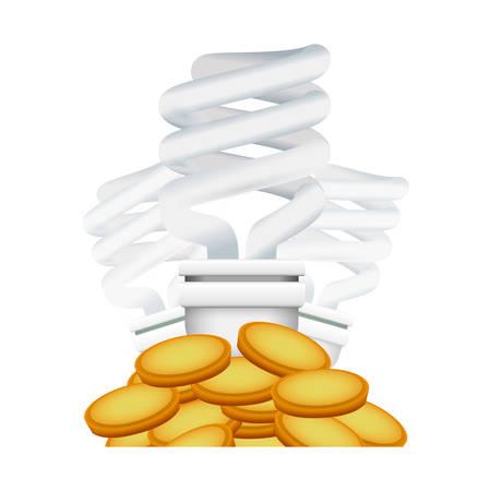 fluorescent light bulbs coins vector icon illustration Illustration