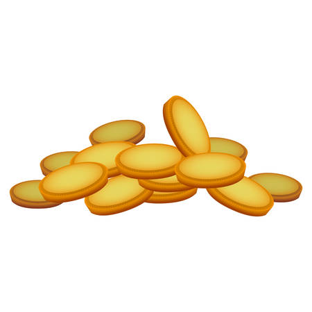 coins money piled up vector icon illustration