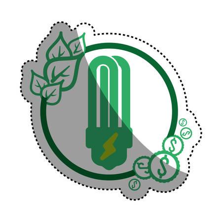 light bulb eco fluorescent vector icon illustration graphic design