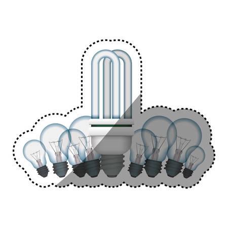 light bulbs incandescent fluorescent vector icon illustration