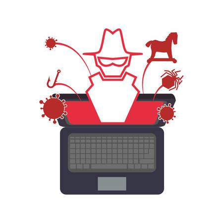 display problem: pc laptop malware vector icon illustration graphic illustration