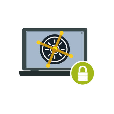 Computer lock security privacy vector icon illustration.