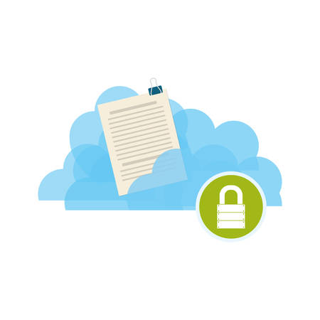 Cloud padlock security documents vector icon illustration.