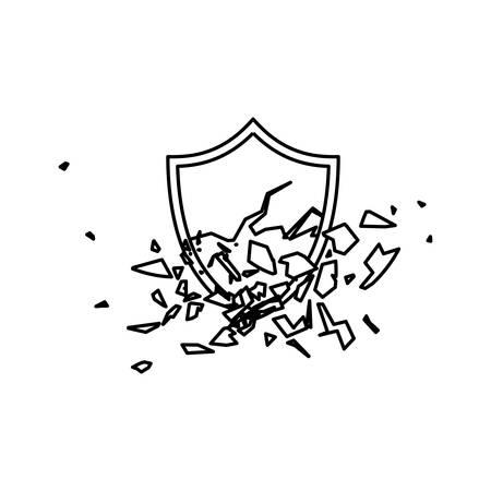 hacked: Shield broken abstract crest icon vector illustration.
