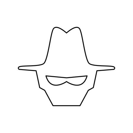 hacked: Malware spyware head vector icon illustration graphic design.
