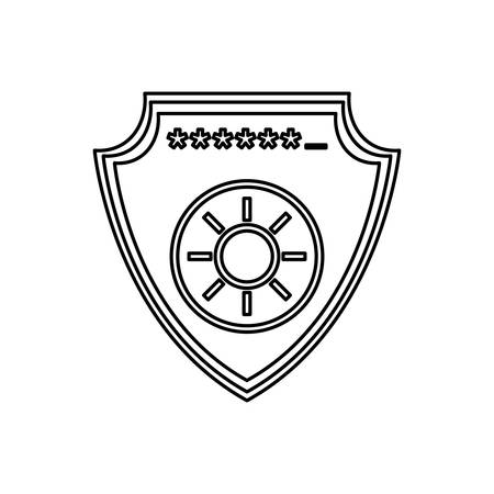 saved: Shield security password code vector icon illustration. Illustration