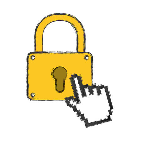 Padlock security pointer hand vector icon illustration.