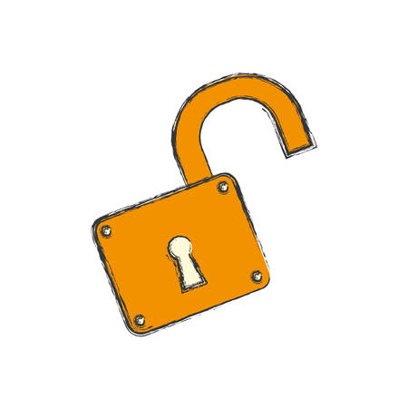 Padlock unlocked security object vector icon illustration graphic design. Illustration