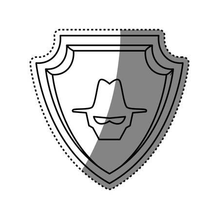 Malware spyware head shield crest vector icon illustration.