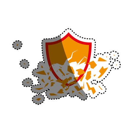 shield broken abstract crest icon vector illustration
