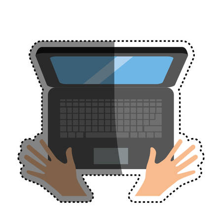 pc laptop malware hands vector icon illustration graphic illustration