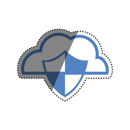 cloud padlock security vector icon illustration graphic design