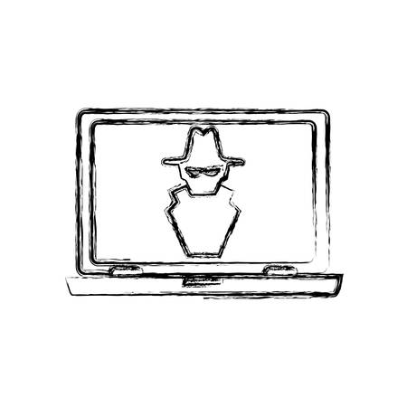 hacked: computer spyware infected vector icon illustration graphic design Illustration