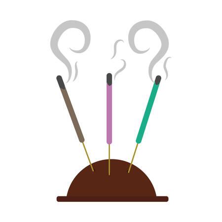 odors: aromatherapy incense sticks over white background. vector illustration
